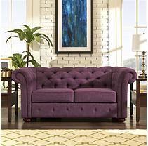 Kyle Tufted Linen Loveseat - Purple