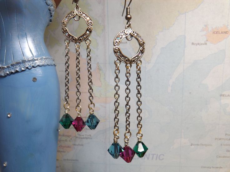 Chained Crystal Earrings