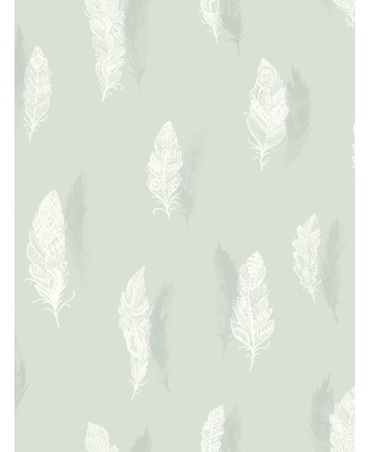 Quill Feather Wallpaper - Soft Teal - 11501