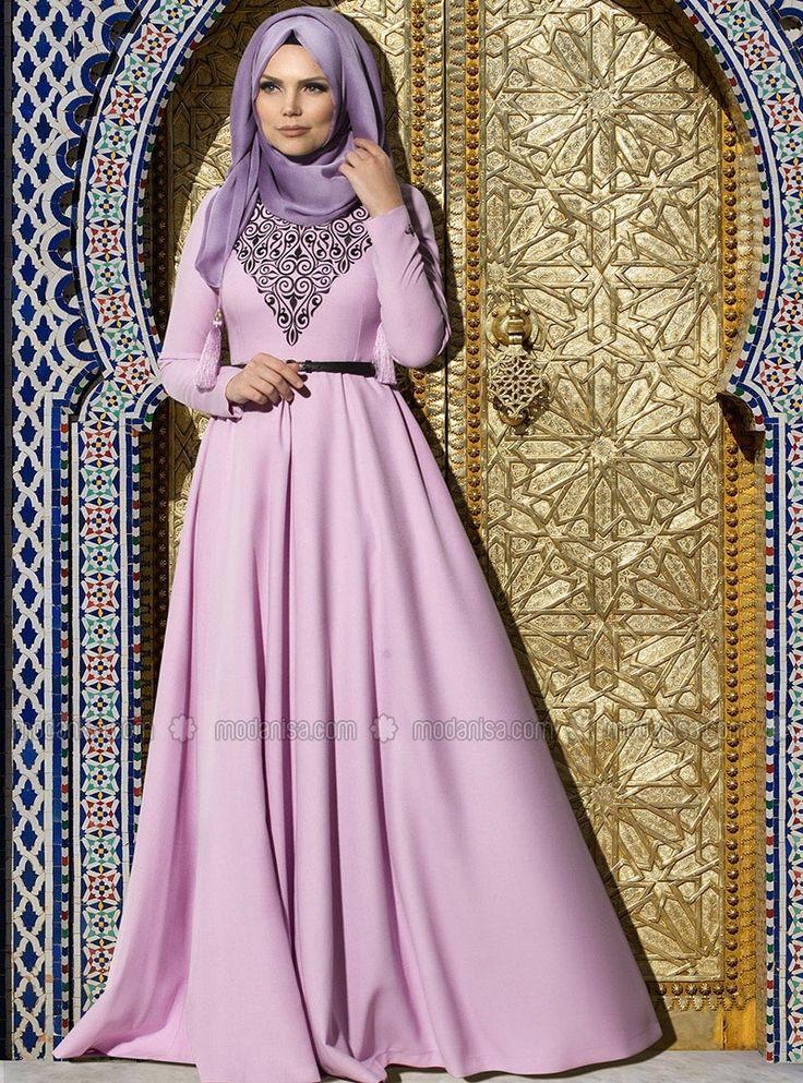 Pré-brodé robe de soirée - Violet foncé - Muslima Wear