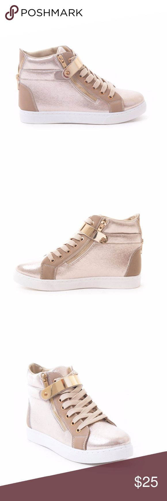 """Women's Metallic High Top Sneakers Be street chic with these fashion high top sneakers. These stylish sneakers feature a gold metal wrap-around strap, a side zipper, and a back zipper. These sneakers are available in black, rose gold, and white. Soho Shoes Fashion Sneakers are great with skinny jeans, skirts, casual dresses, and shorts.  •Padded tongue and collar for ultimate comfort •Ankle support by high-top upper  •Material: synthetic leather, lightweight •Approx. Measurement: 1"""" heel…"""