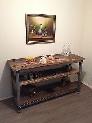 Industrial Vintage Wood and Metal Kitchen Island Workbench Desk Display Table