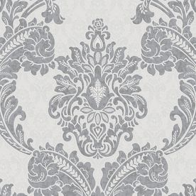This is the cheapest peelable wallpaper I have found that is so pretty! And did I mention it's at Lowe's? Graham & Brown Gray Peelable Vinyl Unpasted Textured Wallpaper
