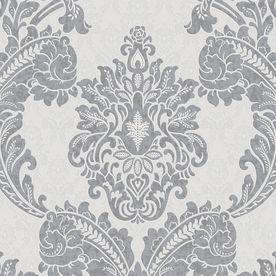 Graham & Brown Palais Gray Vinyl Textured Damask Wallpaper 20-918