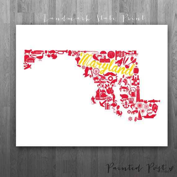 College Park Maryland Landmark State Giclée Print  by PaintedPost, $15.00. What a great gift Idea! Perfect dorm decor!