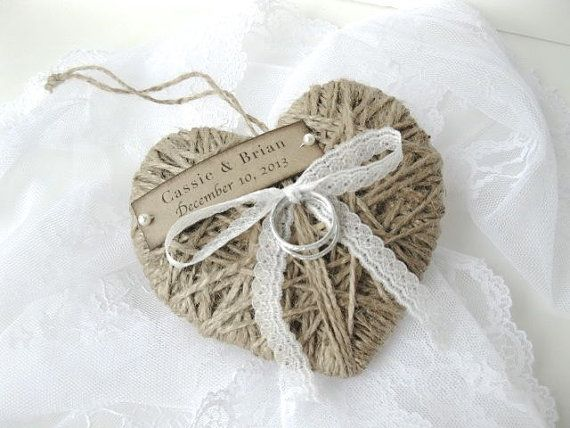 Ring Bearer - reuse as Christmas ornament - personalized with lace - wedding ring holder, wedding ring pillow - original designs