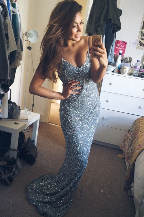 2016 Prom dress,Sexy Prom dress,Vintage V-neck Floor Length Silver Backless Prom Dress With Sequins