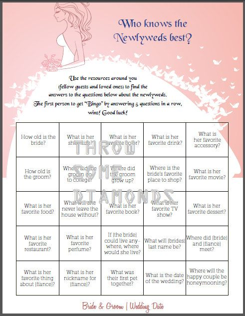 Who Knows Best Bingo - Wedding, Bachelorette or Bridal Shower Game via Etsy