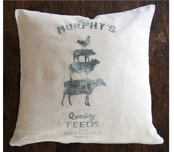 Feed Sack Pillow. Farmhouse Pillow Cover. Custom Pillow Cover. Fixer Upper Style.