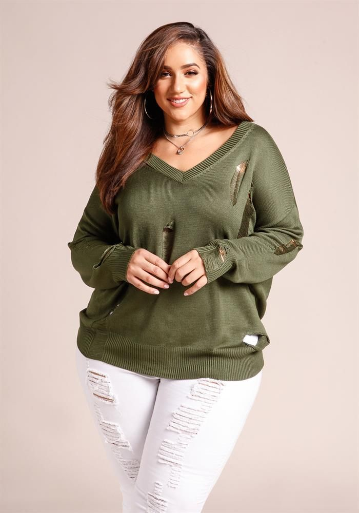 Plus Size Clothing Plus Size Distressed V Neck Sweater Top