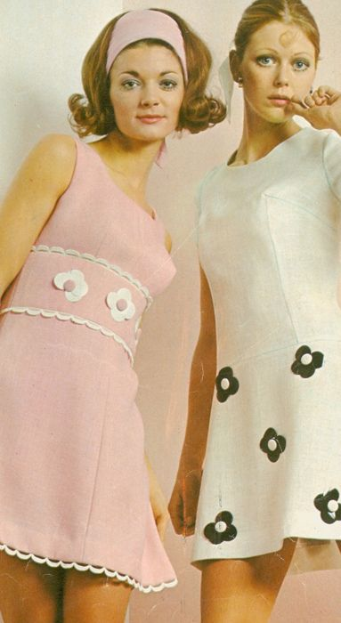 1960s Mini Dresses--although we were not allowed to wear short skirts/dresses in school. Things certainly have changed--we couldn't even wear slacks/pants/jeans to school---dresses or skirts.
