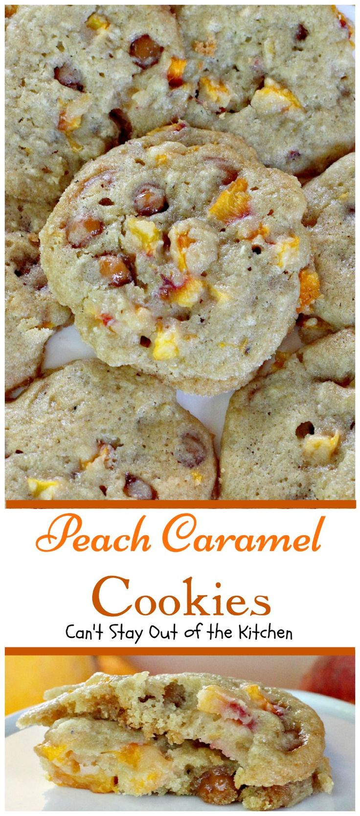 Peach Caramel Cookies | Can't Stay Out of the Kitchen | #peaches and #caramel bits combine to make this the most heavenly #cookie you will ever taste. We loved these.  #dessert