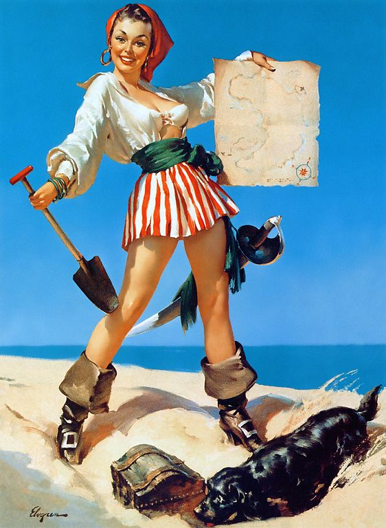 vintage pinup: Most Popular Pin, Costume, Pinup Girls, Pirates Princesses, Pin Up Tattoo'S, Treasure Islands, Gil Elvgren, Pin Up Girls, Pirates Themed
