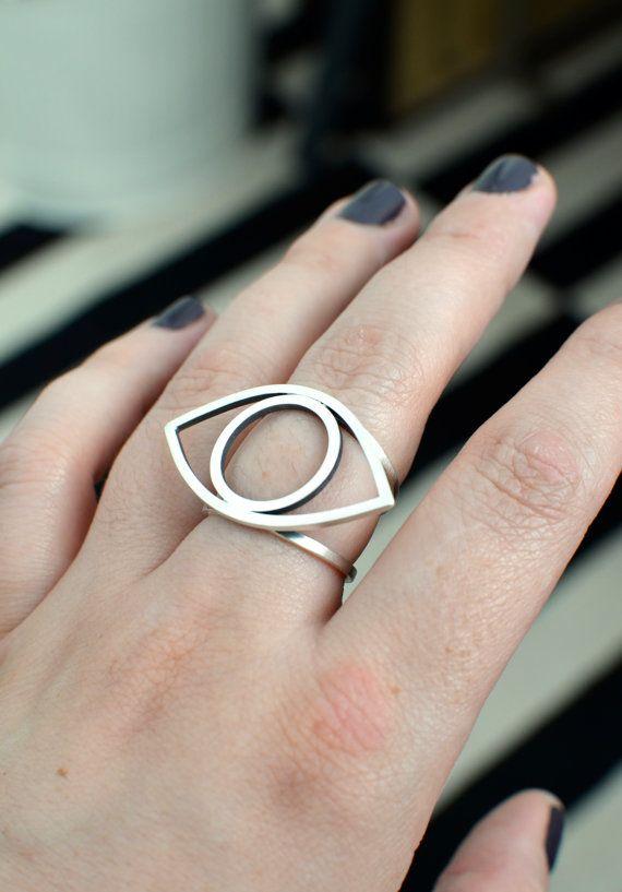 Mirror of my Soul  evil eye ring band in by melaniefavreau on Etsy, $75.00
