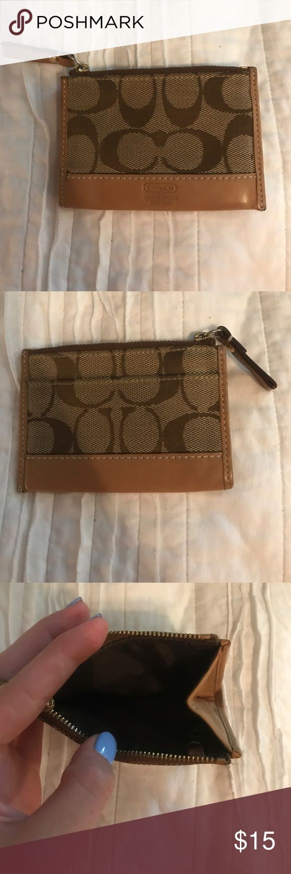Coach wallet Tiny coach wallet- it has an exterior card pocket. In great condition with no marks or rips. Coach Bags Wallets