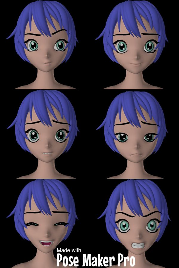 Anime and manga facial expressions reference image made with