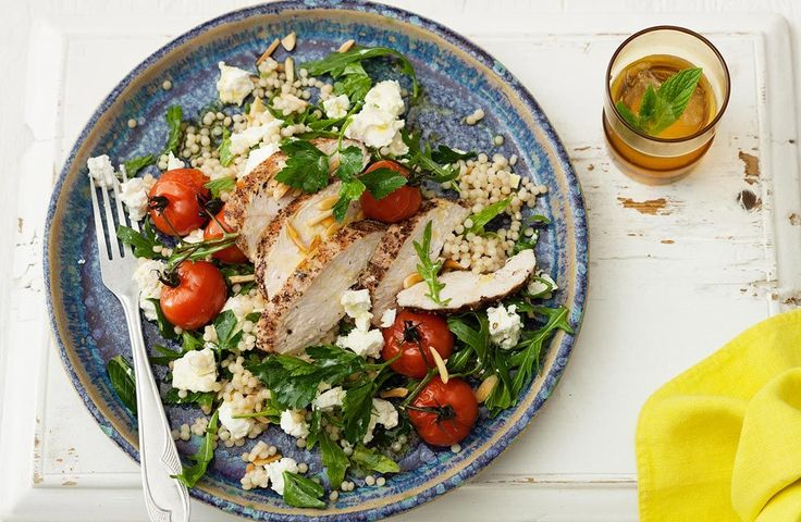 Pepper Chicken & Pearl Couscous Salad with Persian Fetta. A light and tasty Couscous salad, served with chicken, season with pepper and garnished with Smooth Fetta, fresh rocket and tomato. A gorgeous meal for lunch or dinner. #Lemnos #salad #healthy #yummy