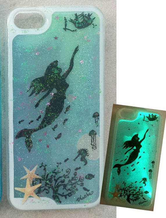 Glow In The Dark Liquid Glitter Phone Case, Iphone Case, Hand Painted Little Mermaid Resin Phone Case, Plastic Phone Case