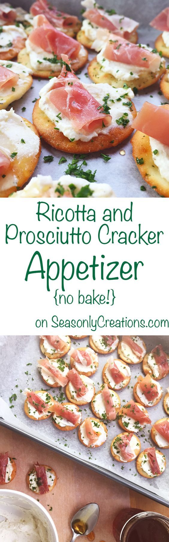 Ricotta and Prosciutto Cracker Appetizer recipe, perfect for your next holiday party! This is a no-bake recipe that costs under $10 and takes less than 20 minutes to make. Wow holiday party goers with creamy ricotta, prosciutto and a light honey drizzle over every cracker. Click through for the full recipe! | SeasonlyCreations... | @SeasonlyBlog