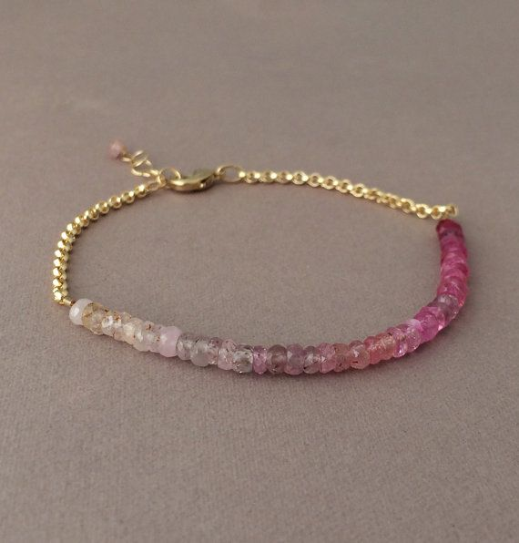 Ombre Pink Ruby Gemstone Beaded Gold Bracelet also by JENNYandJUDE