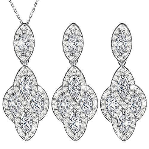 4f8de0e60f8 Dawanza Cadeau Fête des Mères Bijoux Parure Femme Cristal en Plaqué Or Blanc-Fleur  Bohême