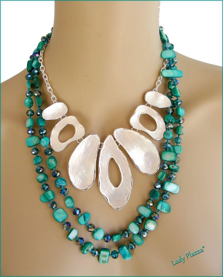 Collier-plastron argent brossé et sautoir Turquoise - Nacre, cristal et métal : Collier par ladyplazza