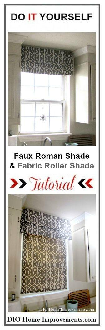 DIY Faux Roman Shade and Fabric Roller Shade