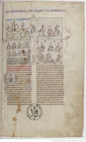 Paris BNF - Bibliothèque de l'Arsenal Ms. 5212 - f. 1r. Auteur: Guiart des Moulins: Bible historiale. Enlumineur: Jean le Noir, le Maître du couronnement de Charles VI. ca 1370.- 31) LE PALAIS DE L'ARSENAL: Plus tard, en 1584, son successeur PHILIBERT DE LA GUERCHE (1578-1596), réalisera le projet de DELORME, mort depuis 14 ans, en faisant édifier sur la rue du Petit-Musc, devant l'avant-cour, un autre portail monumental dont les colonnes étaient en forme de canons.