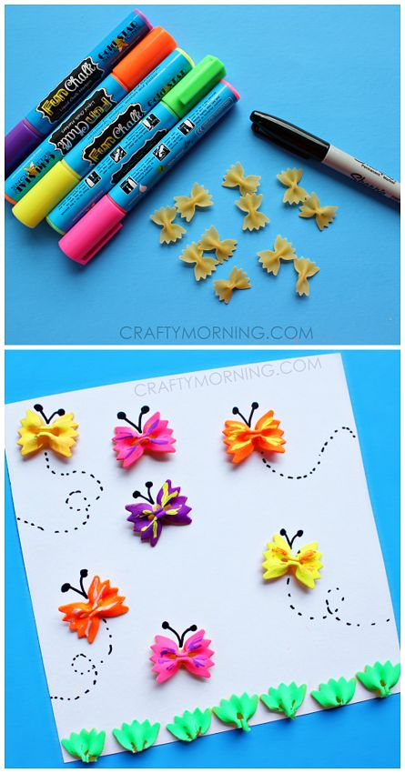The colors in this craft are amazing. I love how they have turned the classic bow tie pasta craft into a modern piece of art. This would look fantastic on a canvas for a dimensional effect.  Bow Ti…