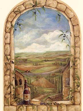 Tuscan View Window Accent Mural