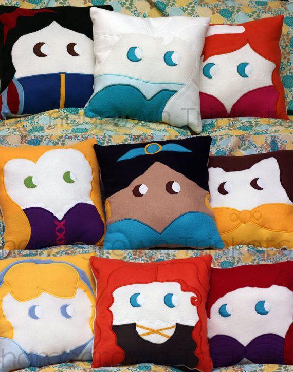 Disney Princess Pillows by HomegrownTrinkets on Etsy, $30.00 #DisneyPrincess #PrincessClub