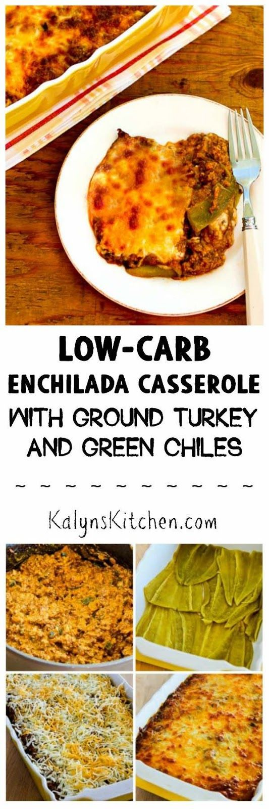 This Low-Carb Enchilada Casserole with Ground Turkey and Chiles is pure low-carb comfort food. This casserole can help you survive the holidays or get back on track in the new year!  [found on KalynsKitchen.com]