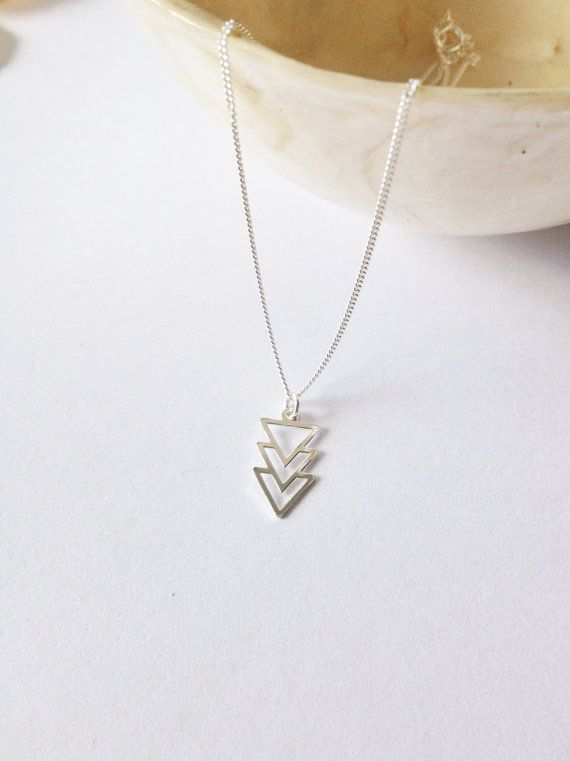 Sterling Silver Triangle Necklacetriangle by WhitePebbleJewellery