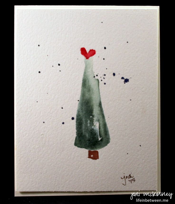 Christmas Tree Watercolor Card Minimalist 2015