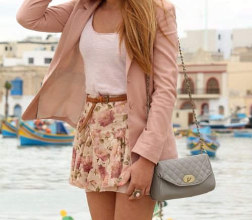 pretty: Fashion, Floral Skirts, Style, Clothing, Cute Outfits, Pale Pink, Spring Outfits, Cute Skirts, Pink Blazers