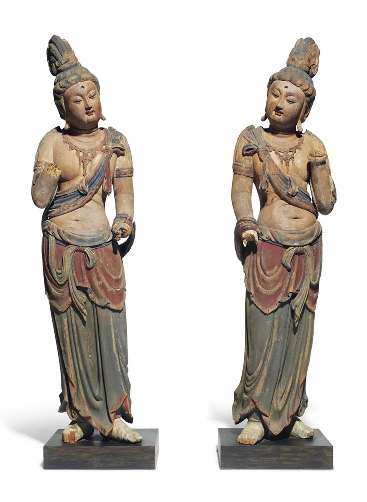 TWO LARGE POLYCHROME WOOD FIGURES OF BODHISATTVAS -  CHINA, 17TH-18TH CENTURY.