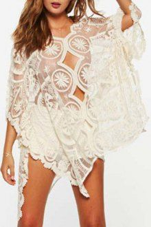 Lace V Neck 3/4 Sleeve See-Through Covver-Up