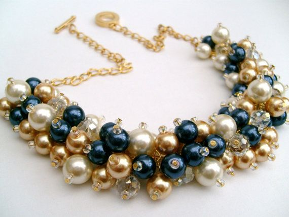 Set of 6 Chunky Pearl Necklace, Navy Gold and Ivory, Bridesmaid Jewelry, Cluster Necklace, Bridesmaid Gift, Bridesmaid Necklace