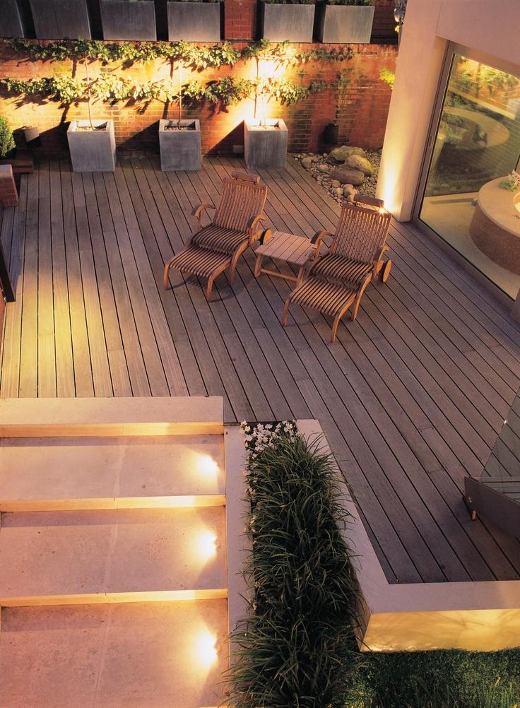 Bowles and Wyer, decking, night shot, garden furniture, lighting