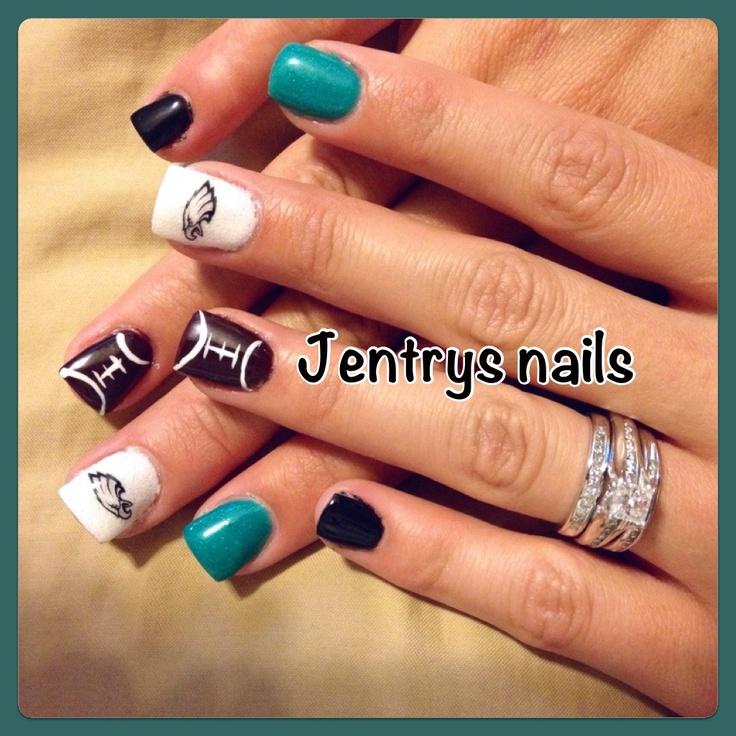 Eagles nails! So cute