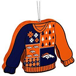 Denver Broncos Official NFL 5.5 inch Foam Ugly Sweater Christmas Ornament by Forever Collectibles 239685