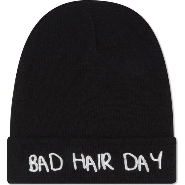 LOCAL HEROES Bad hair day beanie ($30) ❤ liked on Polyvore featuring accessories, hats, beanie, black, black beanie hat, beanie hats, black beanie, embroidered beanie and embroidered hats