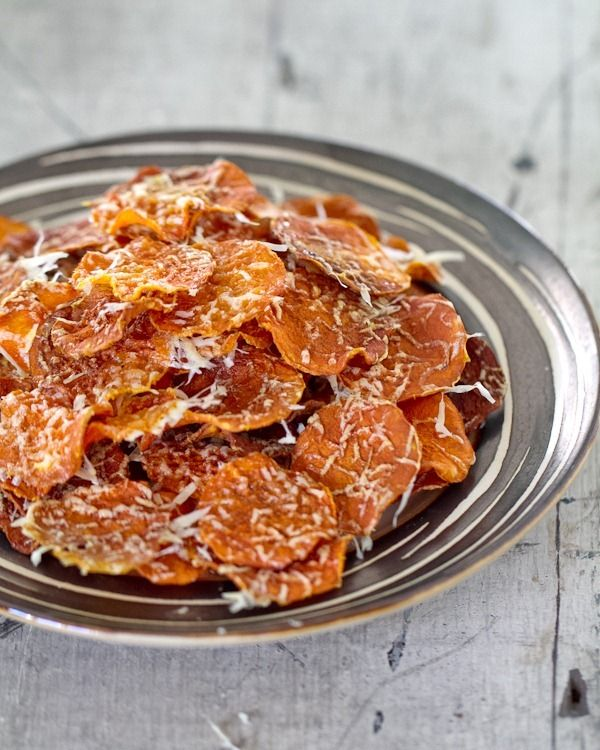 baked butternut squash chips with parmesan