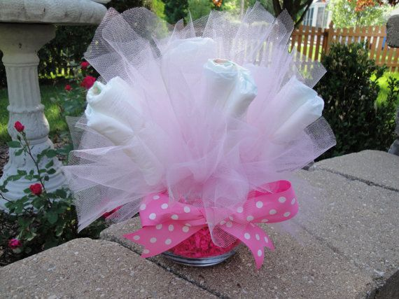 17 best images about diaper cakes shower decorations on for Pink diaper bouquet