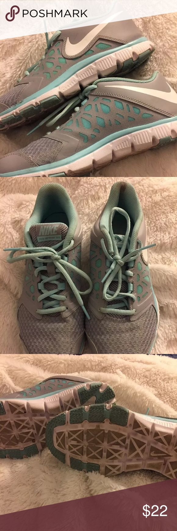 Tiffany blue Nike tennis shoes size 7Y Tiffany blue Nikes!! Really cute. Worn twice and they gave me blisters due to being the wrong size. There's a small blood stain the the heel of one shoe and it's clean. Nike Shoes Sneakers