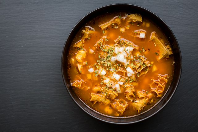 Mexican Tripe Soup (Pancita/Menudo) | The Domestic Man. This is such an interesting recipe and it looks beautiful thanks to the honeycomb tripe. I'll definitely have to give it a try sometime.