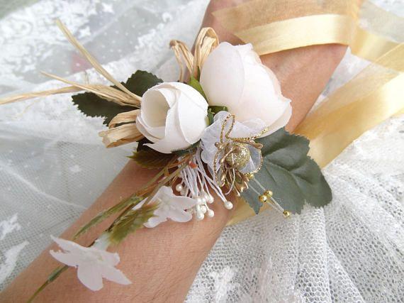 Wedding Flower CorsageFloral BraceletIvory Gold Rose