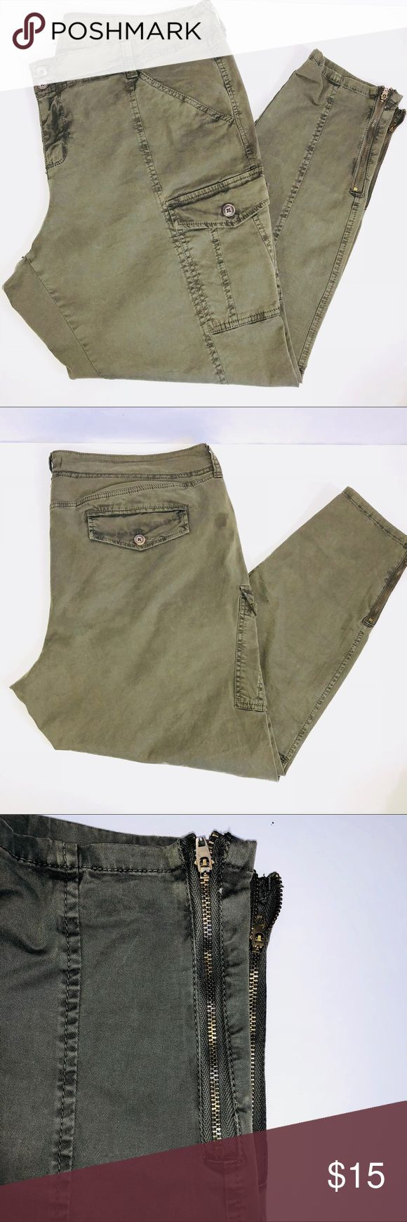 Army Green Skinny Cargo Pants *Low rise  *Skinny *Stretch *4 pockets *2 leg pockets *Front zipper with 2 buttons Old Navy Pants Skinny