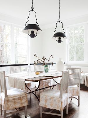 bringing those old lights new again: Dining Rooms, Breakfast Rooms, Idea, Lights Fixtures, Breakfast Nooks, Old Houses, Pendants Lights, Darryl Carter, Chairs Covers