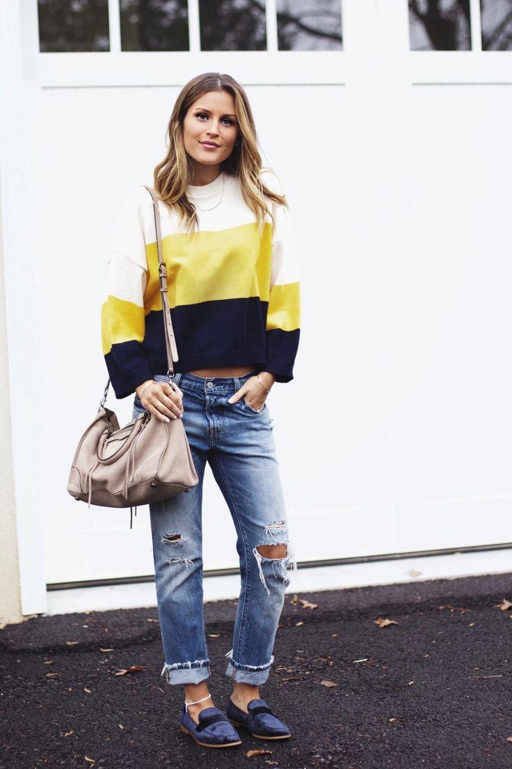 colorblock sweater, levi's boyfriend jeans, blue velvet loafers